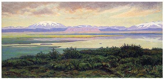 Þórarinn B. Þorláksson, 1917. Hekla séð frá Laugarvatni. 44 x 92 cm. LÍ 99